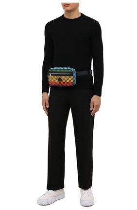 Мужская текстильная поясная сумка gg multicolor GUCCI синего цвета, арт. 658657/2U1BN | Фото 2
