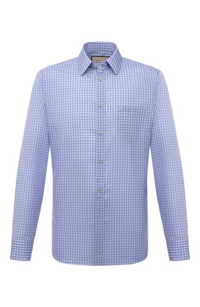 Мужская хлопковая рубашка GUCCI голубого цвета, арт. 654926/ZAG0P | Фото 1