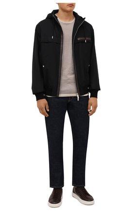 Мужские кожаные кеды SANTONI темно-коричневого цвета, арт. MBCD21547BARRABET55 | Фото 2