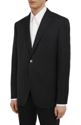 Мужской шерстяной костюм ZILLI темно-серого цвета, арт. MMW-P1202Z1-00105/0002 | Фото 2 (Материал подклада: Купро; Материал внешний: Шерсть; Рукава: Длинные; Костюмы М: Однобортный; Стили: Классический)