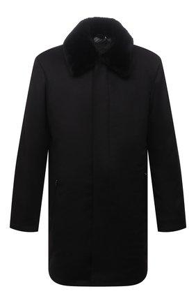 Мужской кашемировое пальто с меховой отделкой ZILLI черного цвета, арт. MAW-TIMBU-03001/0001 | Фото 1 (Материал внешний: Шерсть, Кашемир; Материал подклада: Шелк; Мужское Кросс-КТ: пальто-верхняя одежда; Длина (верхняя одежда): До середины бедра; Рукава: Длинные; Стили: Классический)
