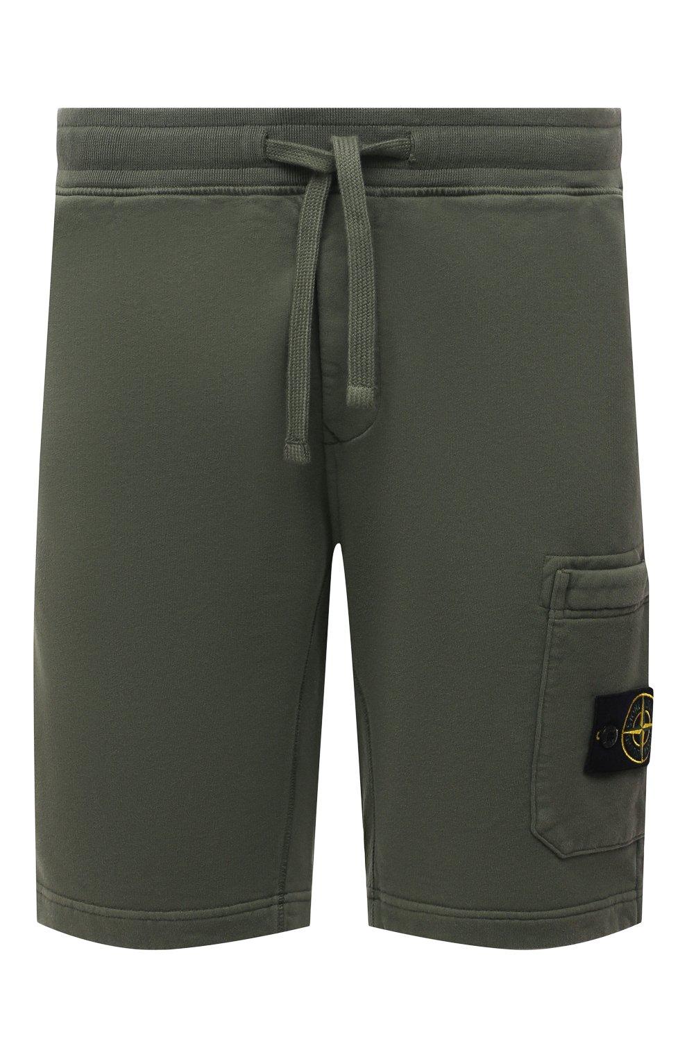 Мужские хлопковые шорты STONE ISLAND хаки цвета, арт. 751564620 | Фото 1 (Длина Шорты М: До колена; Принт: Без принта; Кросс-КТ: Трикотаж; Стили: Милитари; Материал внешний: Хлопок)