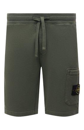 Мужские хлопковые шорты STONE ISLAND хаки цвета, арт. 751564620 | Фото 1