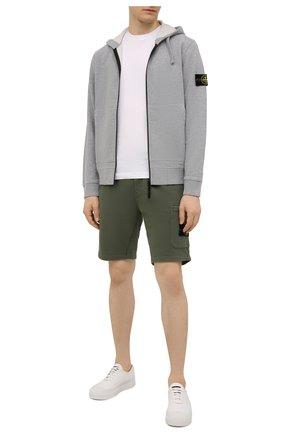 Мужские хлопковые шорты STONE ISLAND хаки цвета, арт. 751564620 | Фото 2