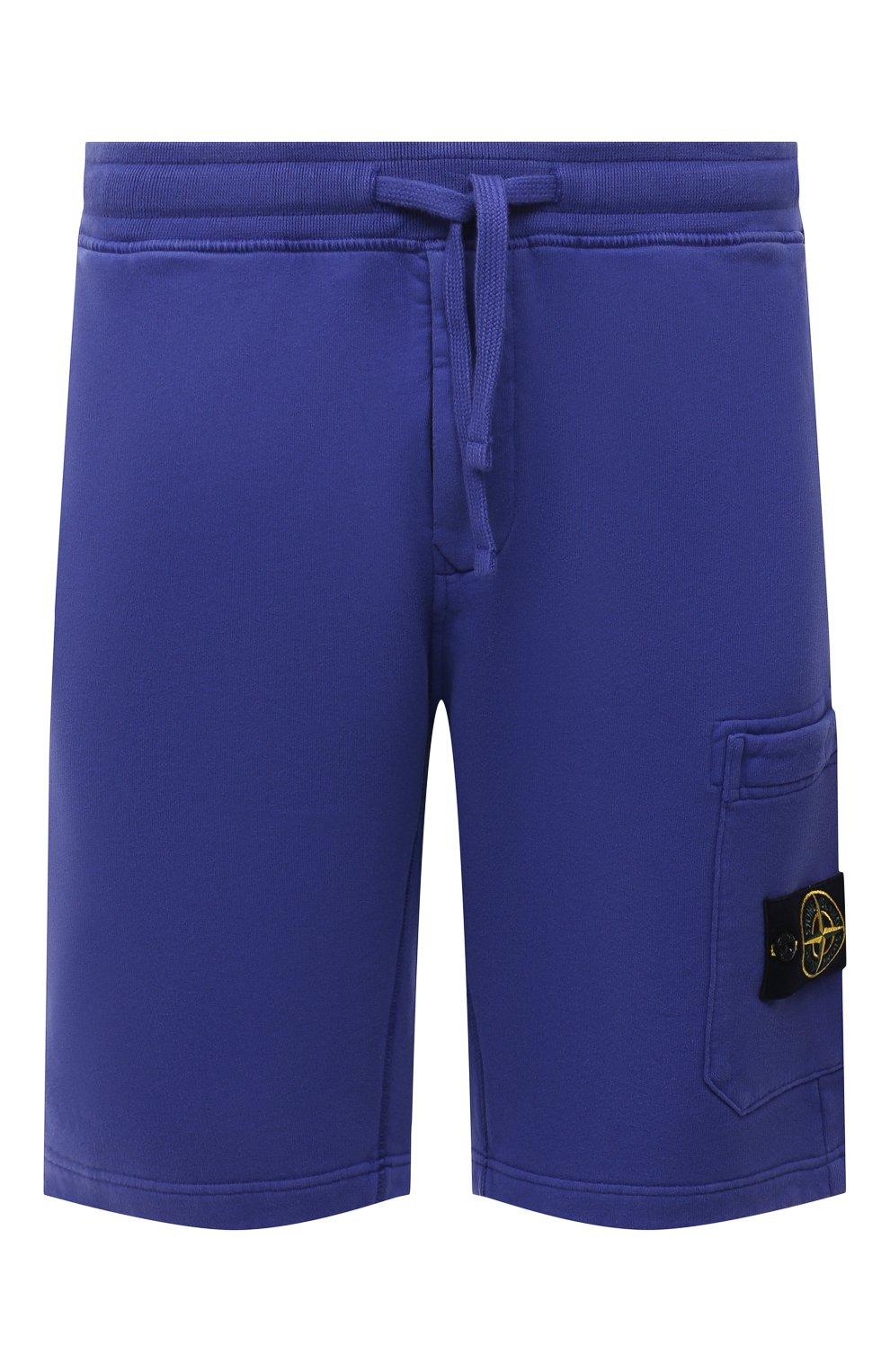 Мужские хлопковые шорты STONE ISLAND синего цвета, арт. 751564620   Фото 1 (Длина Шорты М: До колена; Принт: Без принта; Кросс-КТ: Трикотаж; Материал внешний: Хлопок; Стили: Спорт-шик)