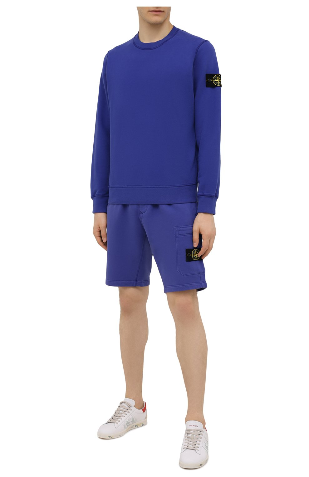 Мужские хлопковые шорты STONE ISLAND синего цвета, арт. 751564620   Фото 2 (Длина Шорты М: До колена; Принт: Без принта; Кросс-КТ: Трикотаж; Материал внешний: Хлопок; Стили: Спорт-шик)