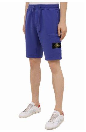 Мужские хлопковые шорты STONE ISLAND синего цвета, арт. 751564620   Фото 3 (Длина Шорты М: До колена; Принт: Без принта; Кросс-КТ: Трикотаж; Материал внешний: Хлопок; Стили: Спорт-шик)