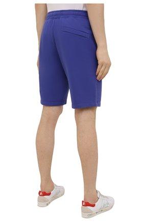 Мужские хлопковые шорты STONE ISLAND синего цвета, арт. 751564620   Фото 4 (Длина Шорты М: До колена; Принт: Без принта; Кросс-КТ: Трикотаж; Материал внешний: Хлопок; Стили: Спорт-шик)