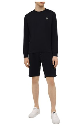 Мужские хлопковые шорты STONE ISLAND темно-синего цвета, арт. 751564620 | Фото 2