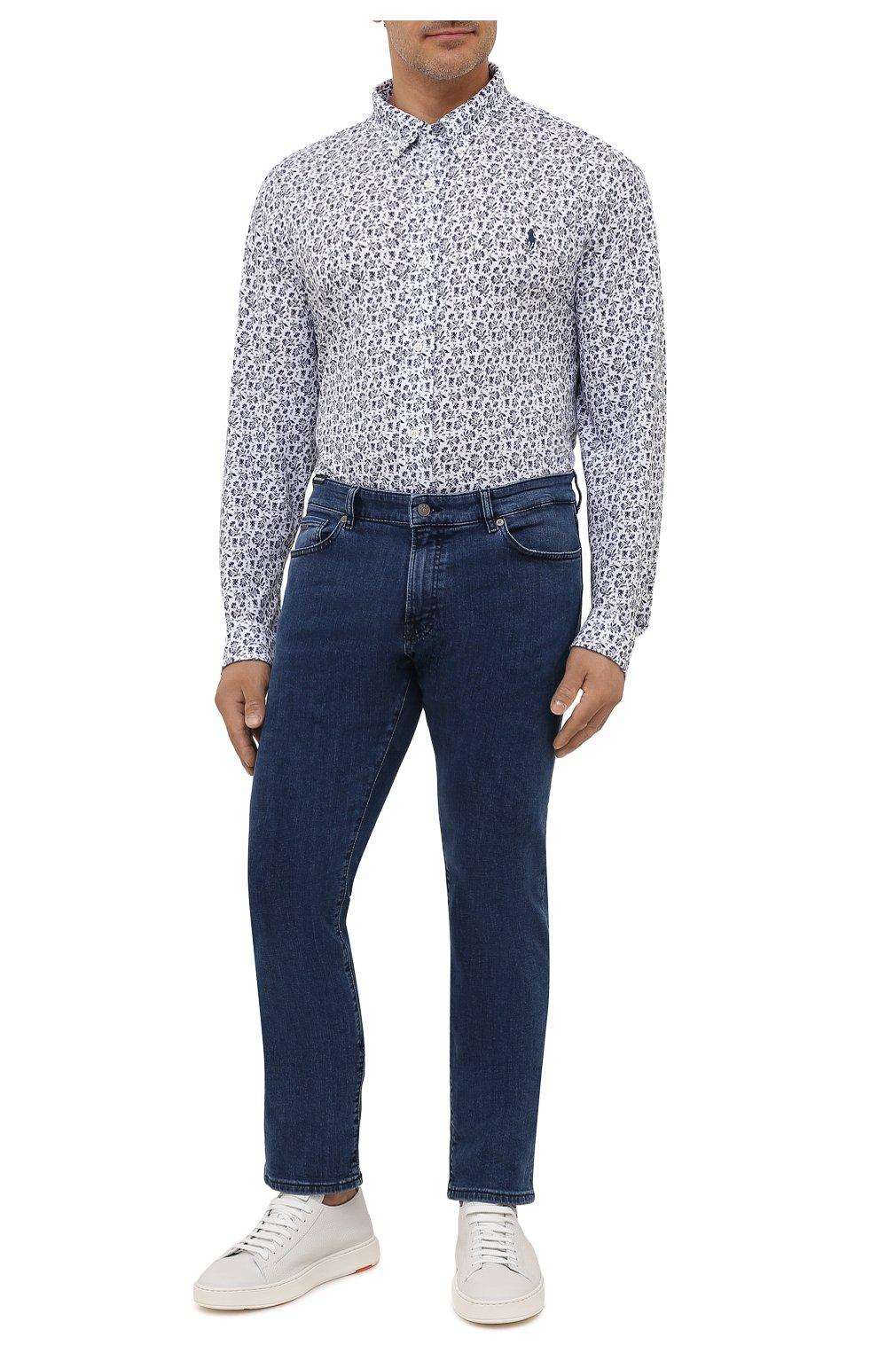 Мужская хлопковая рубашка POLO RALPH LAUREN белого цвета, арт. 711812657/PRL BS | Фото 2 (Манжеты: На пуговицах; Воротник: Button down; Big sizes: Big Sizes; Рукава: Длинные; Случай: Повседневный; Длина (для топов): Стандартные; Принт: С принтом; Материал внешний: Хлопок; Стили: Кэжуэл)