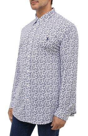 Мужская хлопковая рубашка POLO RALPH LAUREN белого цвета, арт. 711812657/PRL BS | Фото 3 (Манжеты: На пуговицах; Воротник: Button down; Big sizes: Big Sizes; Рукава: Длинные; Случай: Повседневный; Длина (для топов): Стандартные; Принт: С принтом; Материал внешний: Хлопок; Стили: Кэжуэл)