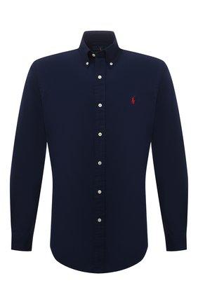 Мужская хлопковая рубашка POLO RALPH LAUREN темно-синего цвета, арт. 710846084   Фото 1