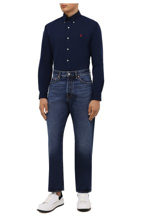 Мужская хлопковая рубашка POLO RALPH LAUREN темно-синего цвета, арт. 710846084   Фото 2