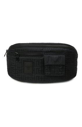 Мужская текстильная поясная сумка BALMAIN черного цвета, арт. WM1AB154/TNJM | Фото 1