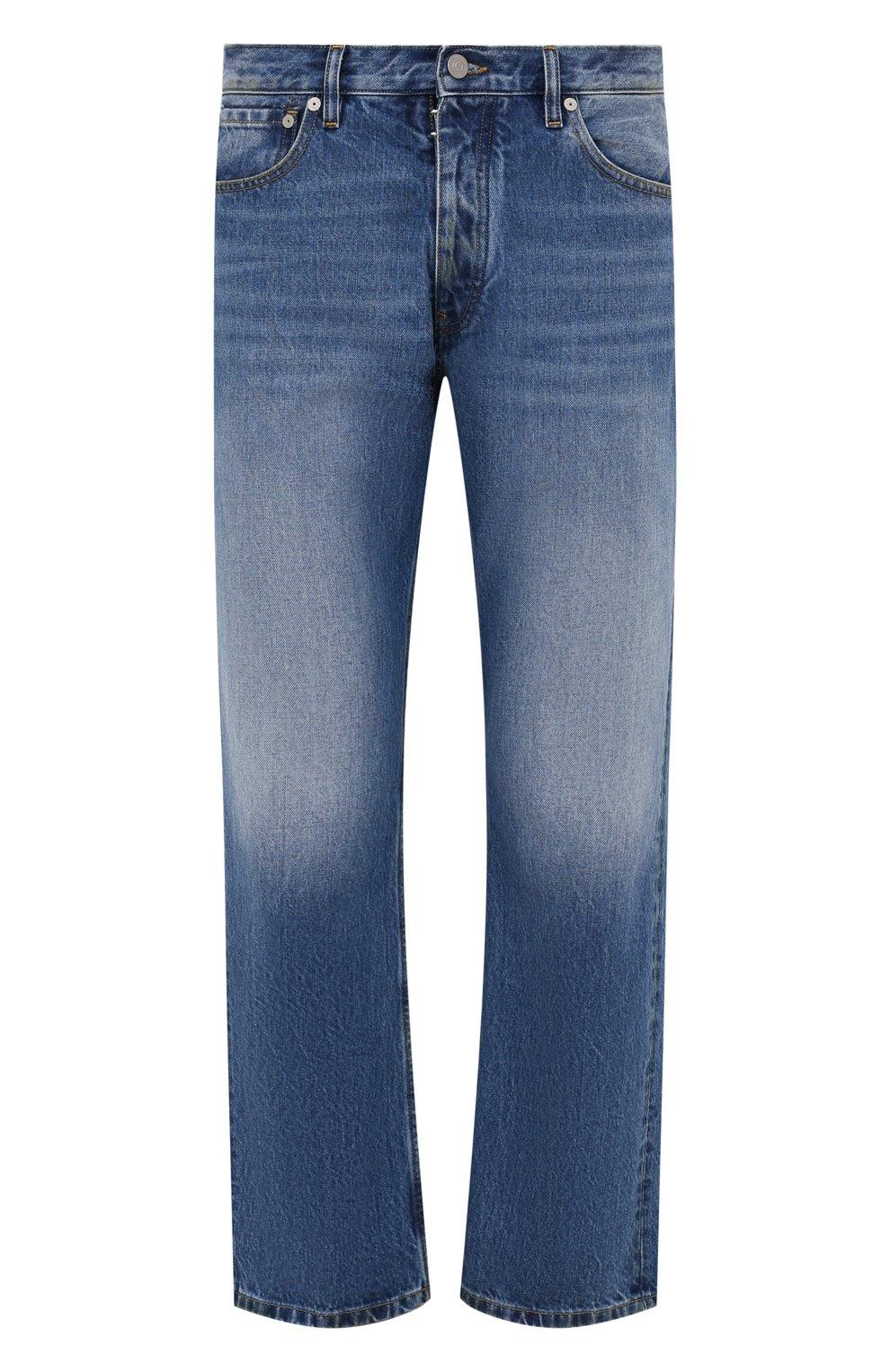 Мужские джинсы MAISON MARGIELA синего цвета, арт. S50LA0189/S30561 | Фото 1 (Силуэт М (брюки): Широкие; Кросс-КТ: Деним; Длина (брюки, джинсы): Стандартные; Материал внешний: Хлопок; Детали: Потертости; Стили: Минимализм)