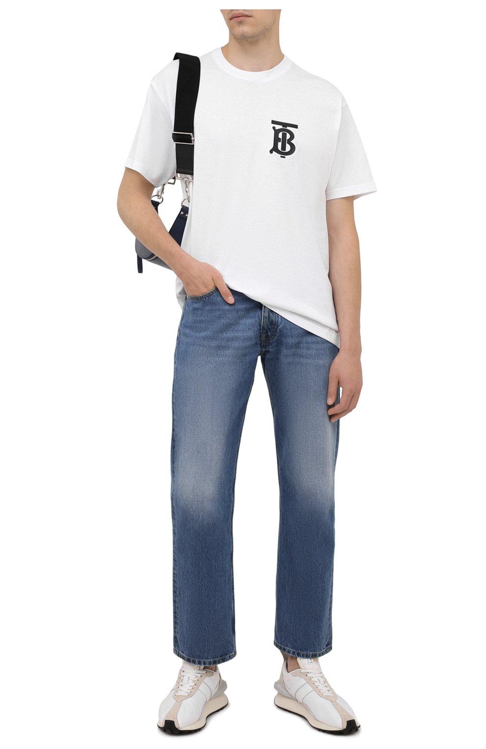 Мужские джинсы MAISON MARGIELA синего цвета, арт. S50LA0189/S30561 | Фото 2 (Силуэт М (брюки): Широкие; Кросс-КТ: Деним; Длина (брюки, джинсы): Стандартные; Материал внешний: Хлопок; Детали: Потертости; Стили: Минимализм)