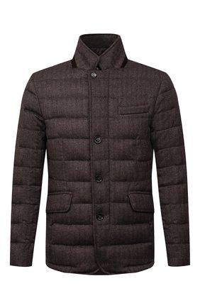 Мужская пуховая куртка из шерсти и кашемира zayn-ls9 MOORER темно-коричневого цвета, арт. ZAYN-LS9/M0UGI100307-TEPA228 | Фото 1 (Материал утеплителя: Пух и перо; Материал подклада: Синтетический материал; Материал внешний: Шерсть; Кросс-КТ: Куртка; Длина (верхняя одежда): Короткие; Рукава: Длинные; Мужское Кросс-КТ: пуховик-короткий; Стили: Классический)