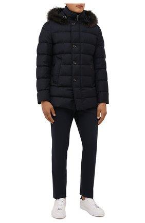 Мужская пуховик с меховой отделкой moresco-ll MOORER темно-синего цвета, арт. M0RESC0-LL/M0UGI100235-TEPA236 | Фото 2 (Материал подклада: Синтетический материал; Материал внешний: Шерсть; Материал утеплителя: Пух и перо; Кросс-КТ: Куртка; Рукава: Длинные; Длина (верхняя одежда): До середины бедра; Мужское Кросс-КТ: пуховик-короткий; Стили: Кэжуэл)
