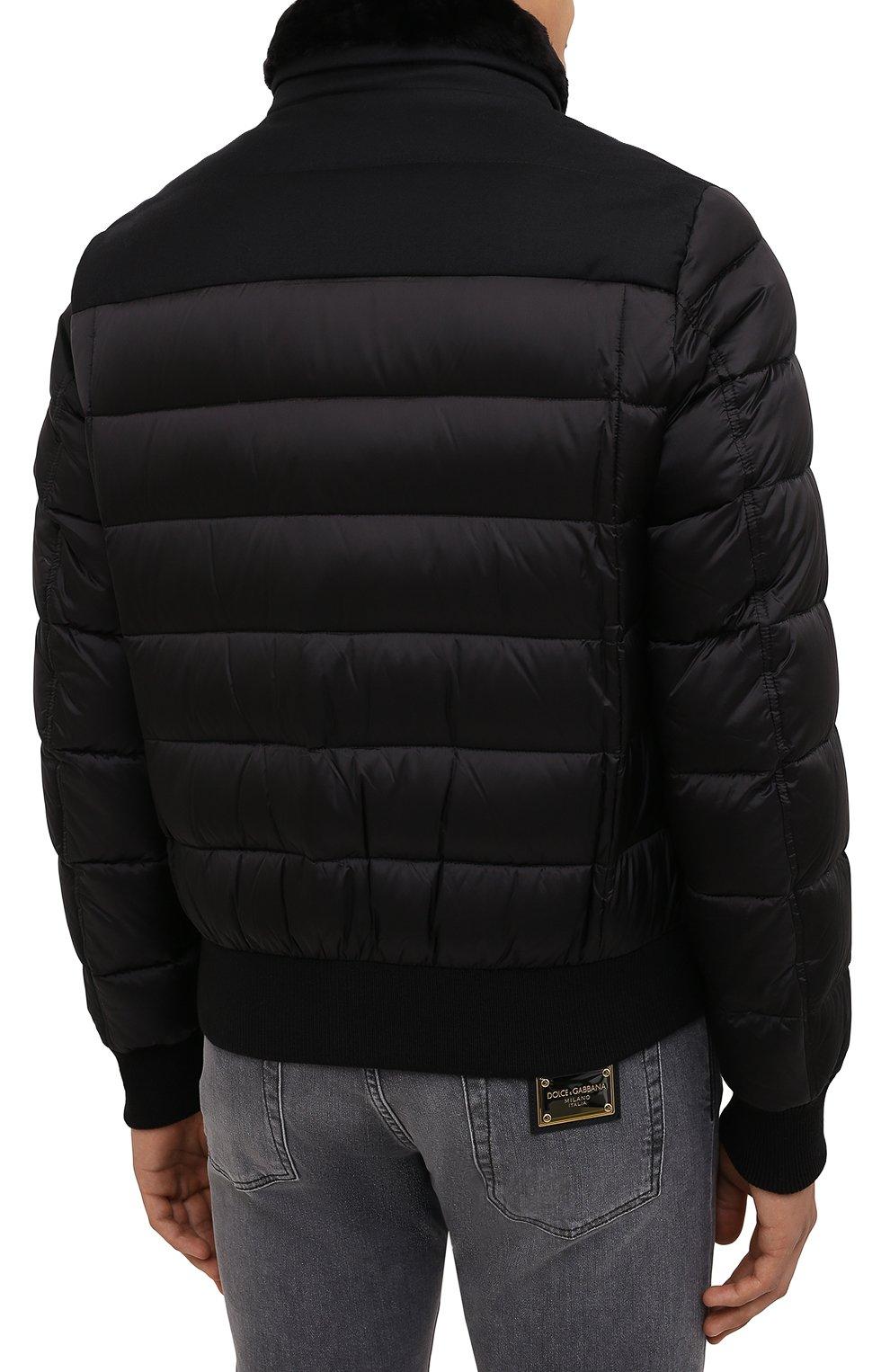 Мужской пуховый бомбер с меховой отделкой fantoni-shl MOORER черного цвета, арт. FANT0NI-SHL/M0UGI100177-TEPA235 | Фото 4 (Кросс-КТ: Куртка; Мужское Кросс-КТ: пуховик-короткий; Рукава: Длинные; Принт: Без принта; Материал внешний: Синтетический материал; Длина (верхняя одежда): Короткие; Материал утеплителя: Пух и перо; Стили: Кэжуэл)