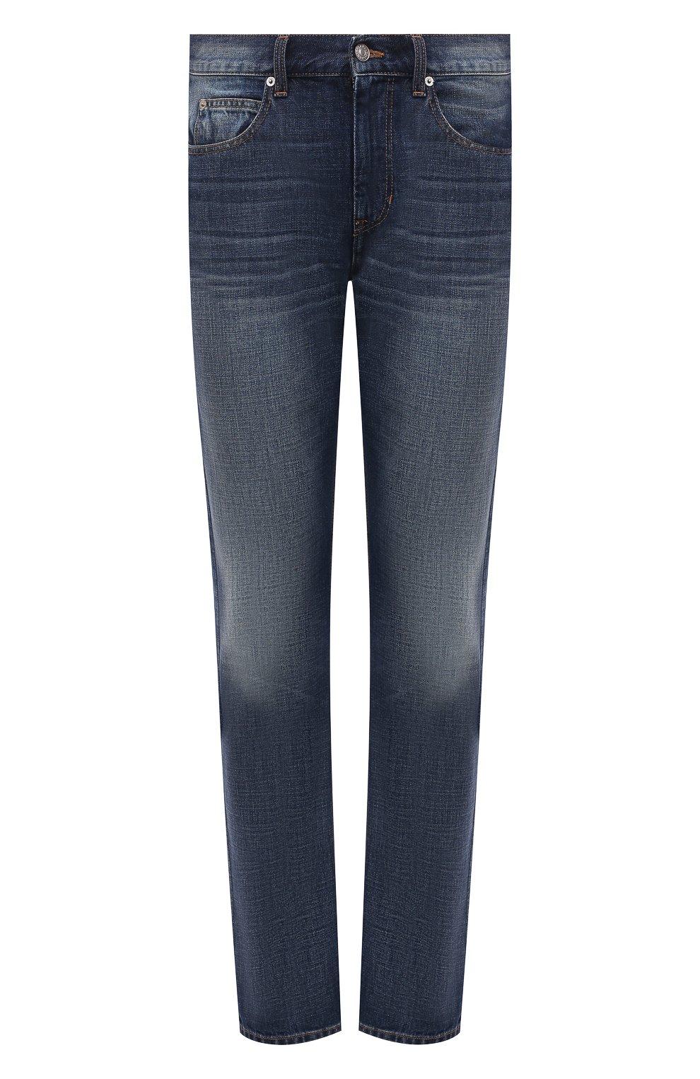 Мужские джинсы ISABEL MARANT синего цвета, арт. PA0867-21A018H/JACK | Фото 1 (Силуэт М (брюки): Прямые; Кросс-КТ: Деним; Длина (брюки, джинсы): Стандартные; Материал внешний: Хлопок; Детали: Потертости; Стили: Кэжуэл)