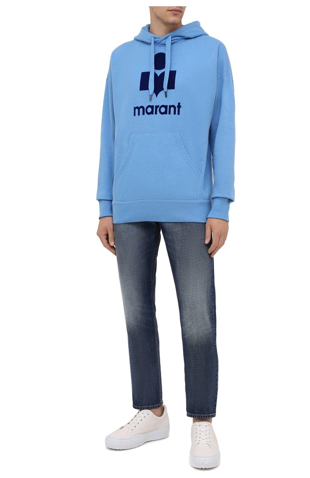 Мужские джинсы ISABEL MARANT синего цвета, арт. PA0867-21A018H/JACK | Фото 2 (Силуэт М (брюки): Прямые; Кросс-КТ: Деним; Длина (брюки, джинсы): Стандартные; Материал внешний: Хлопок; Детали: Потертости; Стили: Кэжуэл)
