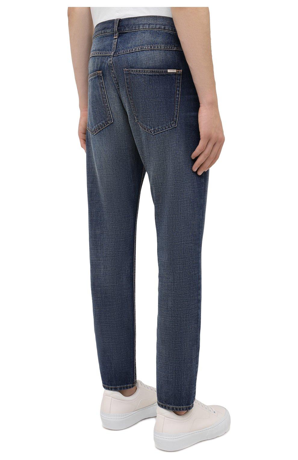 Мужские джинсы ISABEL MARANT синего цвета, арт. PA0867-21A018H/JACK | Фото 4 (Силуэт М (брюки): Прямые; Кросс-КТ: Деним; Длина (брюки, джинсы): Стандартные; Материал внешний: Хлопок; Детали: Потертости; Стили: Кэжуэл)