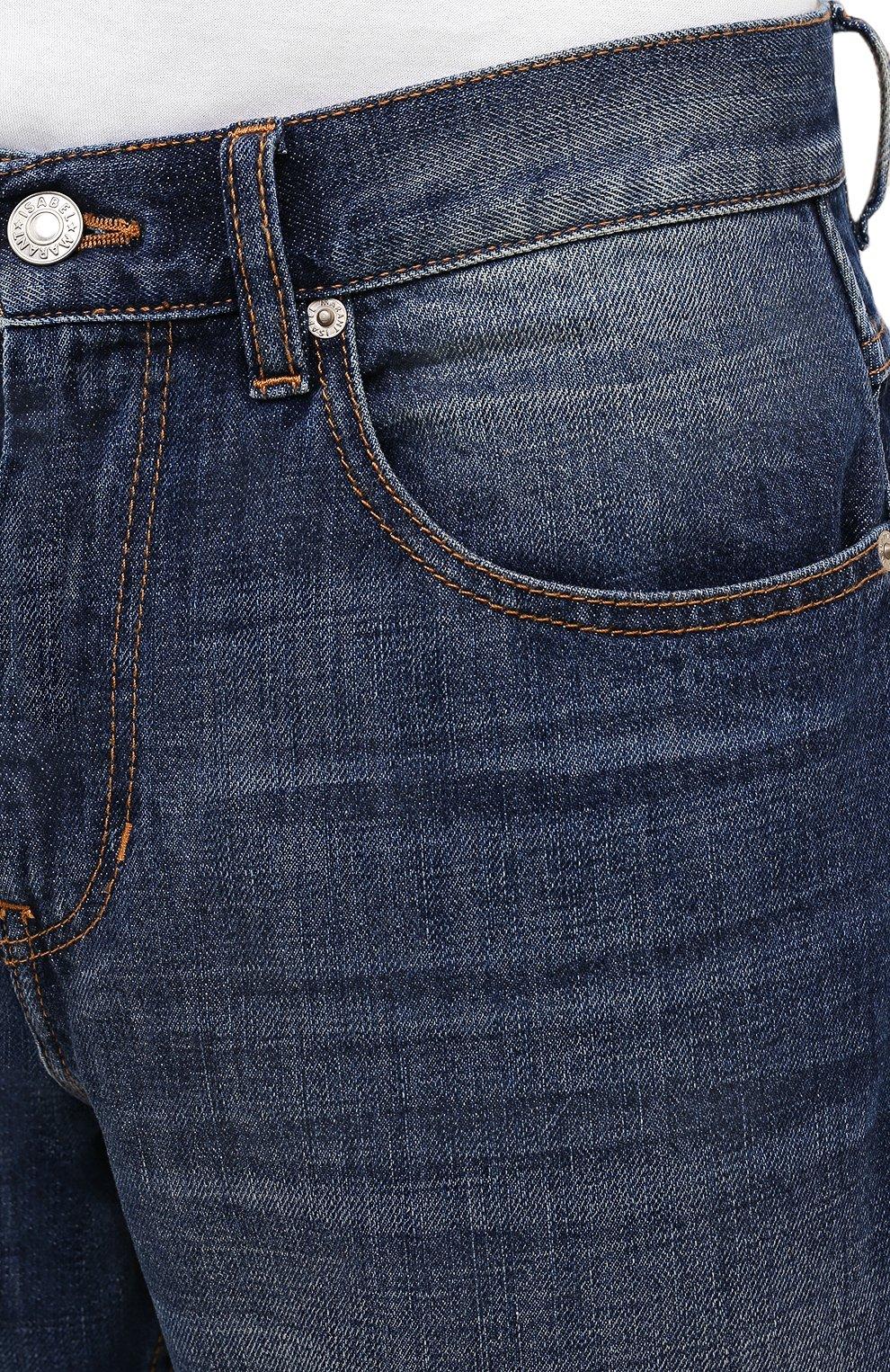 Мужские джинсы ISABEL MARANT синего цвета, арт. PA0867-21A018H/JACK | Фото 5 (Силуэт М (брюки): Прямые; Кросс-КТ: Деним; Длина (брюки, джинсы): Стандартные; Материал внешний: Хлопок; Детали: Потертости; Стили: Кэжуэл)