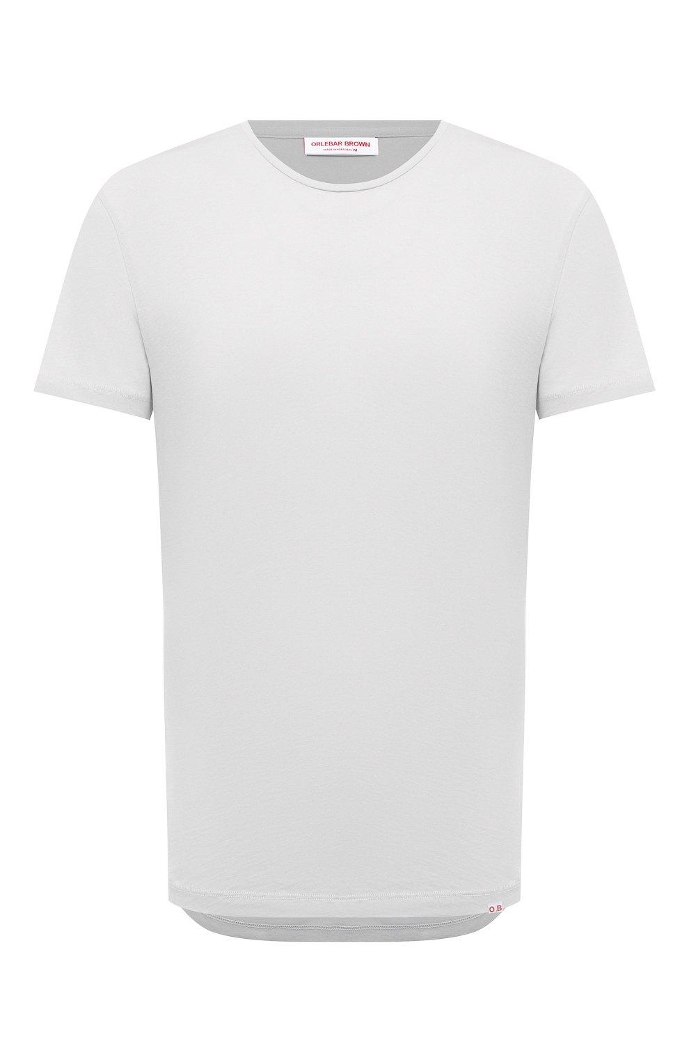 Мужская хлопковая футболка ORLEBAR BROWN светло-серого цвета, арт. 273688   Фото 1 (Кросс-КТ: Пляж; Принт: Без принта; Рукава: Короткие; Длина (для топов): Стандартные; Материал внешний: Хлопок; Стили: Кэжуэл)