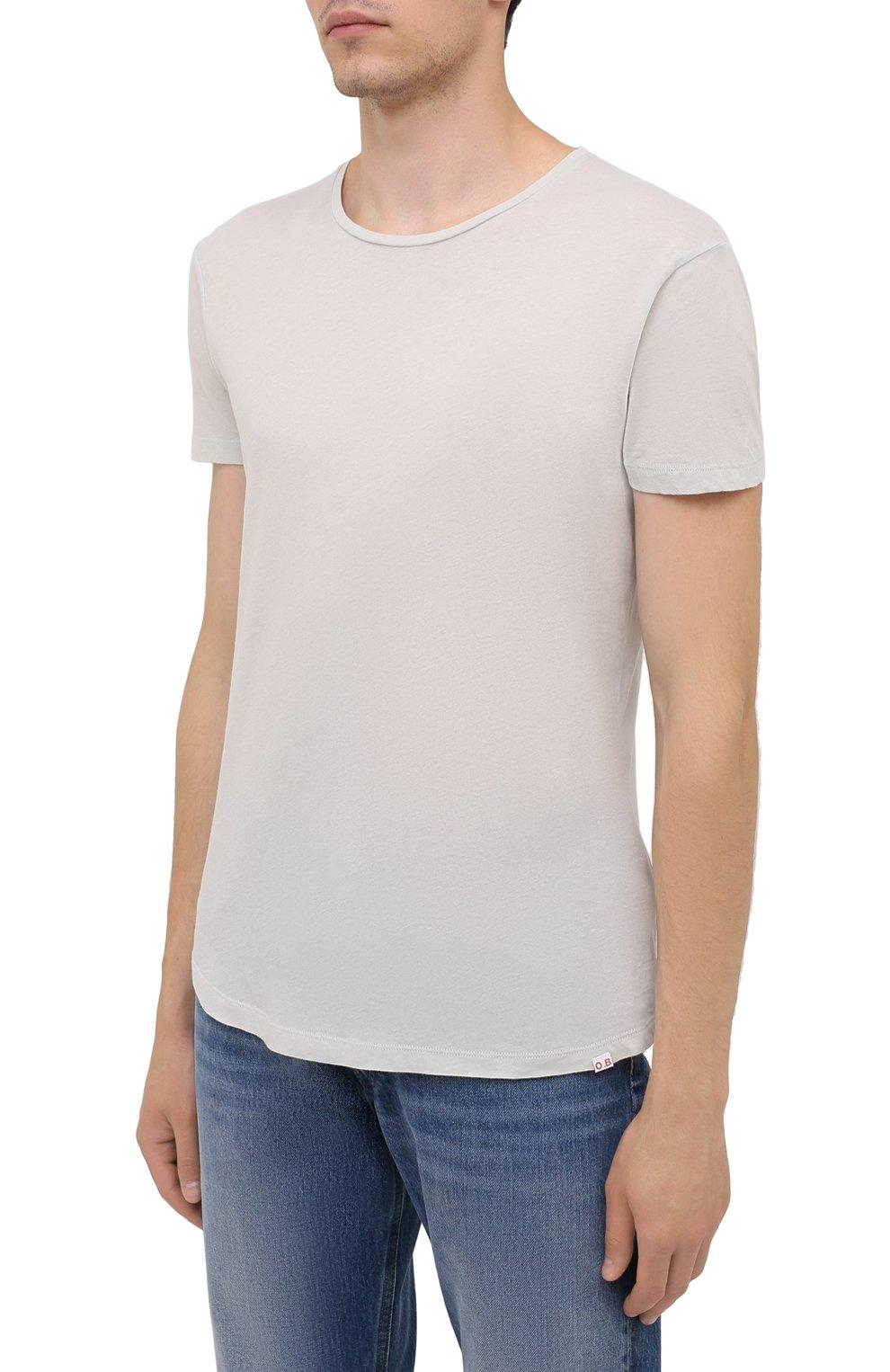 Мужская хлопковая футболка ORLEBAR BROWN светло-серого цвета, арт. 273688   Фото 3 (Кросс-КТ: Пляж; Принт: Без принта; Рукава: Короткие; Длина (для топов): Стандартные; Материал внешний: Хлопок; Стили: Кэжуэл)