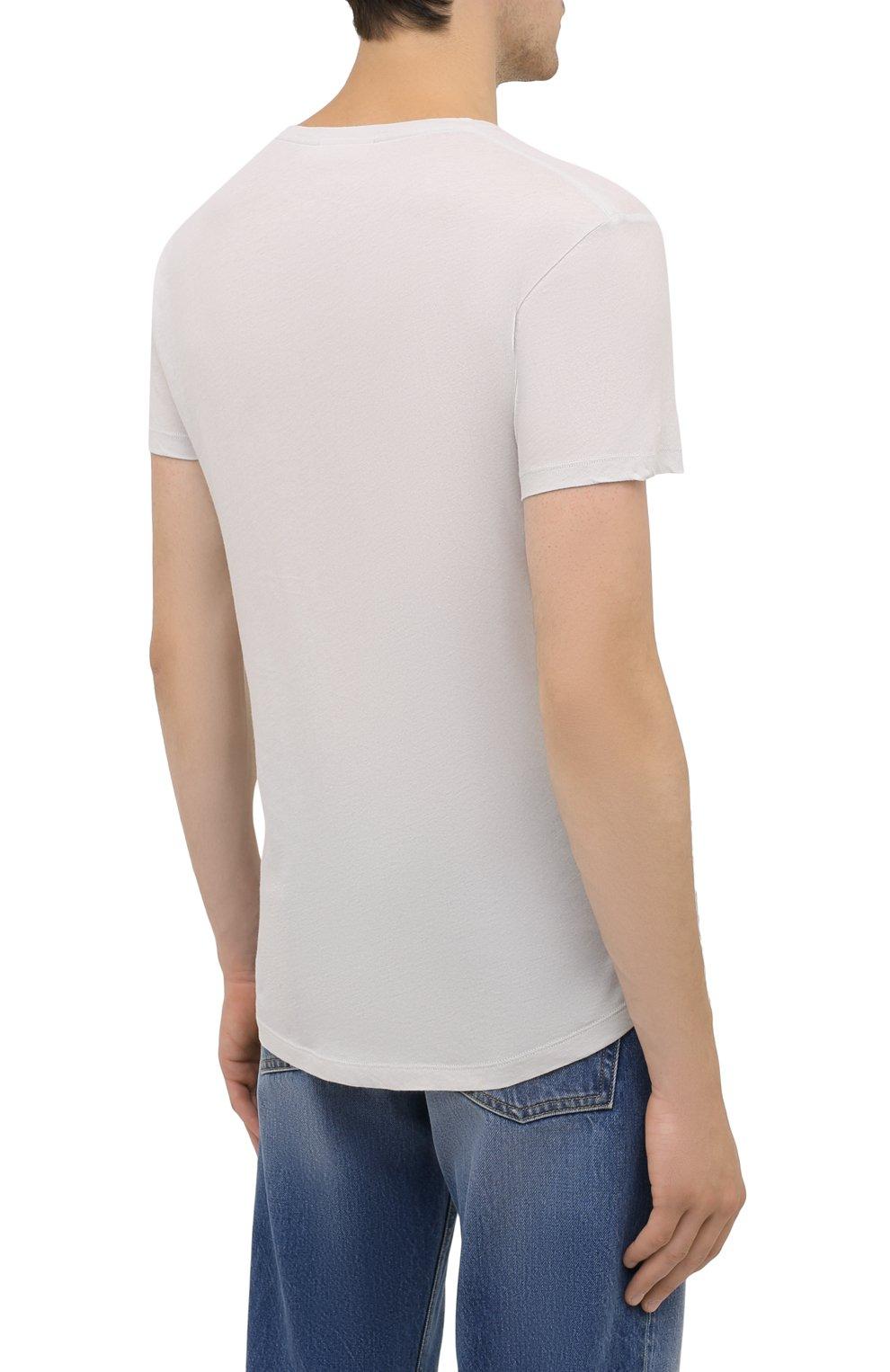 Мужская хлопковая футболка ORLEBAR BROWN светло-серого цвета, арт. 273688   Фото 4 (Кросс-КТ: Пляж; Принт: Без принта; Рукава: Короткие; Длина (для топов): Стандартные; Материал внешний: Хлопок; Стили: Кэжуэл)