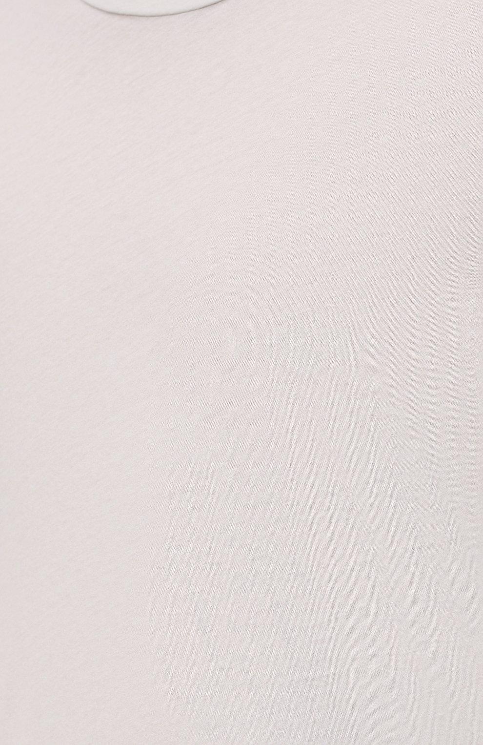 Мужская хлопковая футболка ORLEBAR BROWN светло-серого цвета, арт. 273688   Фото 5 (Кросс-КТ: Пляж; Принт: Без принта; Рукава: Короткие; Длина (для топов): Стандартные; Материал внешний: Хлопок; Стили: Кэжуэл)