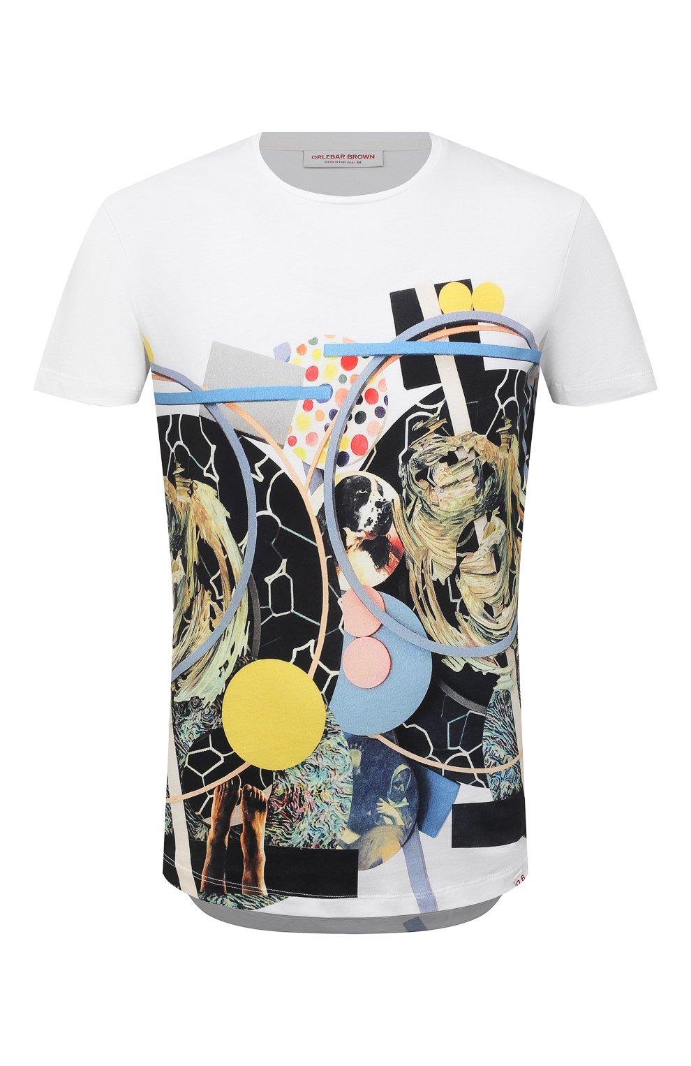 Мужская хлопковая футболка ORLEBAR BROWN белого цвета, арт. 273689   Фото 1 (Кросс-КТ: Пляж; Рукава: Короткие; Длина (для топов): Стандартные; Принт: С принтом; Материал внешний: Хлопок; Стили: Кэжуэл)