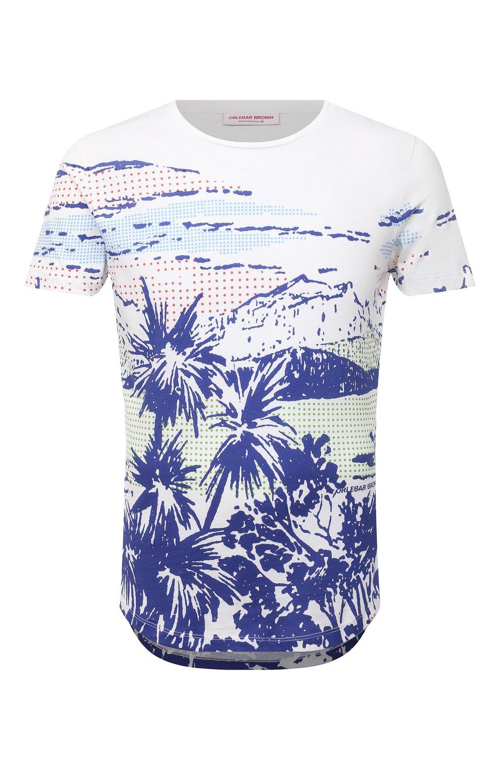Мужская хлопковая футболка ORLEBAR BROWN белого цвета, арт. 273696 | Фото 1 (Кросс-КТ: Пляж; Рукава: Короткие; Длина (для топов): Стандартные; Принт: С принтом; Материал внешний: Хлопок; Стили: Кэжуэл)