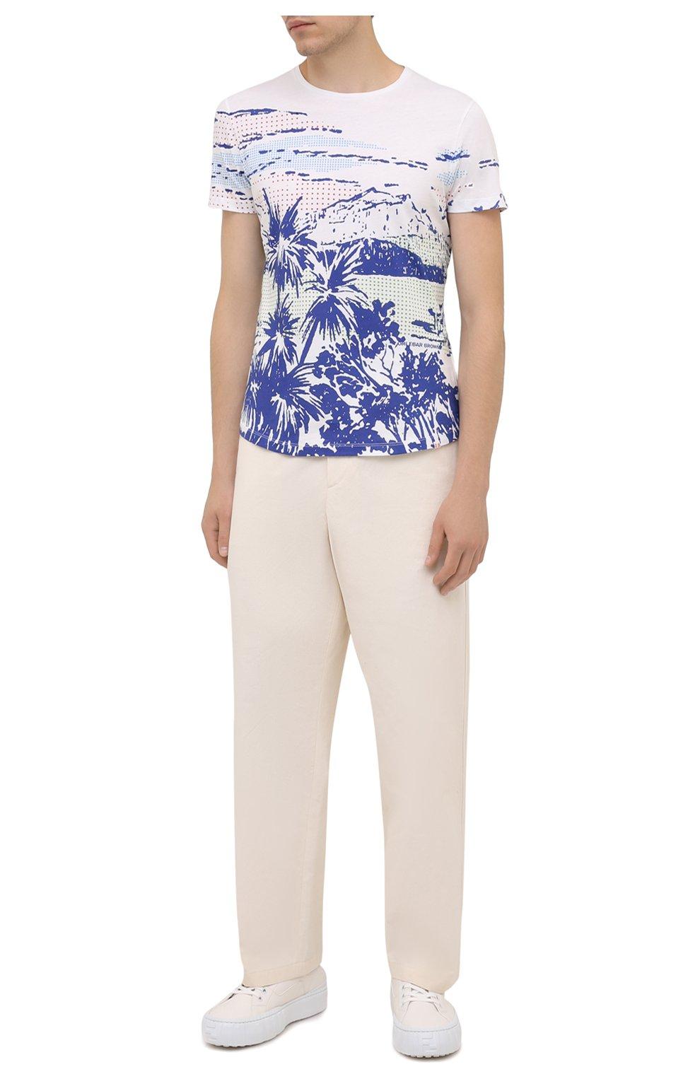 Мужская хлопковая футболка ORLEBAR BROWN белого цвета, арт. 273696 | Фото 2 (Кросс-КТ: Пляж; Рукава: Короткие; Длина (для топов): Стандартные; Принт: С принтом; Материал внешний: Хлопок; Стили: Кэжуэл)