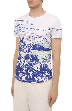Мужская хлопковая футболка ORLEBAR BROWN белого цвета, арт. 273696 | Фото 3 (Кросс-КТ: Пляж; Рукава: Короткие; Длина (для топов): Стандартные; Принт: С принтом; Материал внешний: Хлопок; Стили: Кэжуэл)