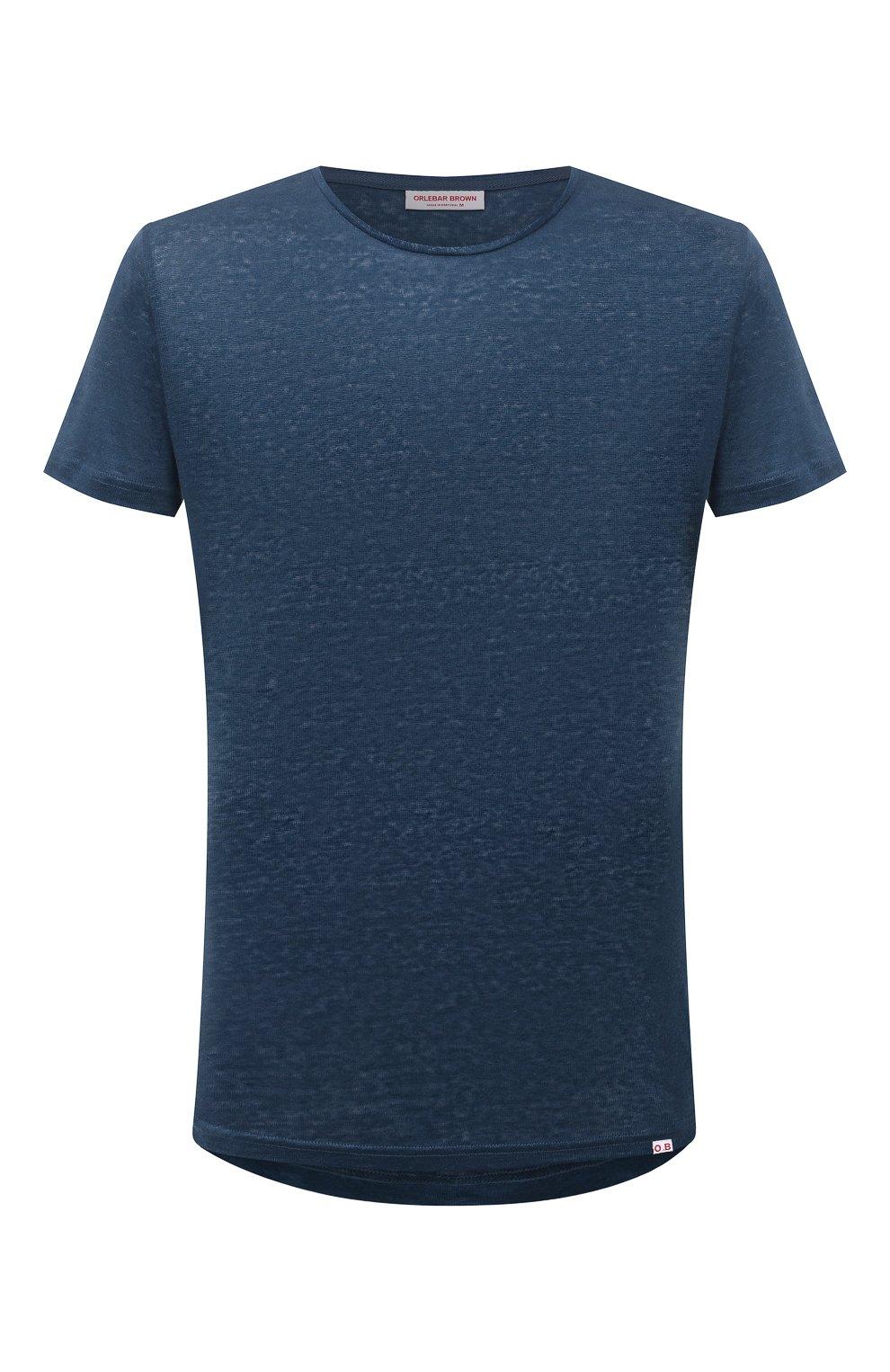 Мужская льняная футболка ORLEBAR BROWN темно-синего цвета, арт. 273700   Фото 1 (Кросс-КТ: Пляж; Принт: Без принта; Рукава: Короткие; Длина (для топов): Стандартные; Материал внешний: Лен; Стили: Кэжуэл)