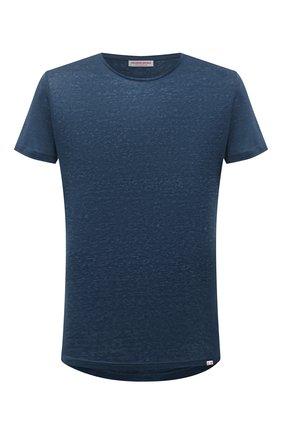 Мужская льняная футболка ORLEBAR BROWN темно-синего цвета, арт. 273700 | Фото 1