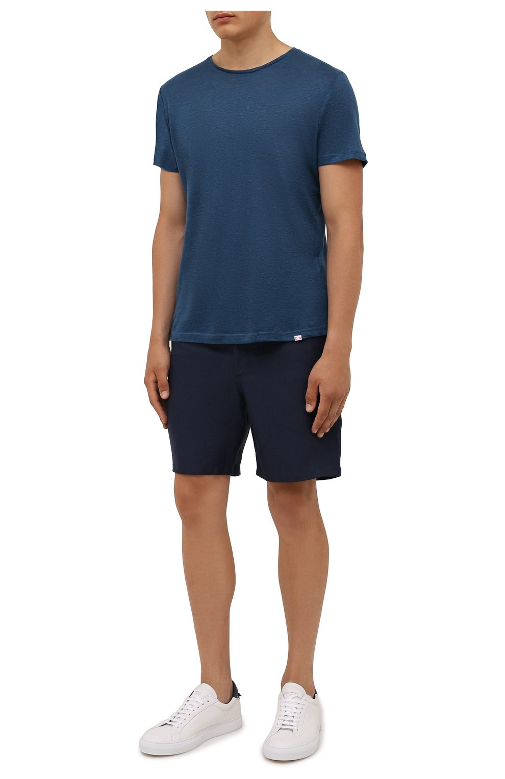 Мужская льняная футболка ORLEBAR BROWN темно-синего цвета, арт. 273700   Фото 2 (Кросс-КТ: Пляж; Принт: Без принта; Рукава: Короткие; Длина (для топов): Стандартные; Материал внешний: Лен; Стили: Кэжуэл)