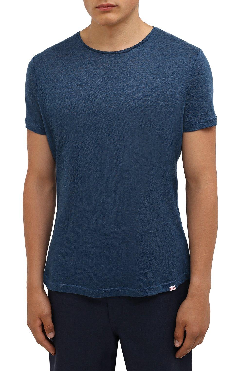Мужская льняная футболка ORLEBAR BROWN темно-синего цвета, арт. 273700   Фото 3 (Кросс-КТ: Пляж; Принт: Без принта; Рукава: Короткие; Длина (для топов): Стандартные; Материал внешний: Лен; Стили: Кэжуэл)