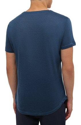 Мужская льняная футболка ORLEBAR BROWN темно-синего цвета, арт. 273700   Фото 4 (Кросс-КТ: Пляж; Принт: Без принта; Рукава: Короткие; Длина (для топов): Стандартные; Материал внешний: Лен; Стили: Кэжуэл)