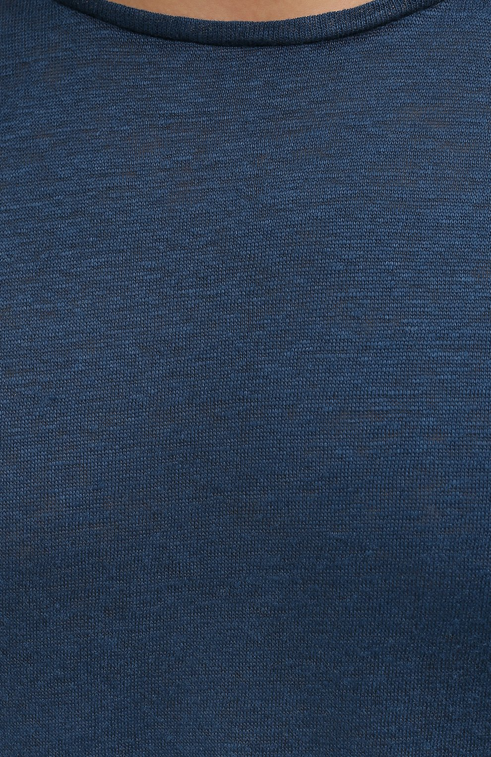 Мужская льняная футболка ORLEBAR BROWN темно-синего цвета, арт. 273700   Фото 5 (Кросс-КТ: Пляж; Принт: Без принта; Рукава: Короткие; Длина (для топов): Стандартные; Материал внешний: Лен; Стили: Кэжуэл)