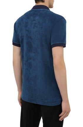 Мужское хлопковое поло ORLEBAR BROWN темно-синего цвета, арт. 273879 | Фото 4 (Застежка: Пуговицы; Кросс-КТ: Пляж; Рукава: Короткие; Длина (для топов): Удлиненные; Материал внешний: Хлопок; Стили: Кэжуэл)