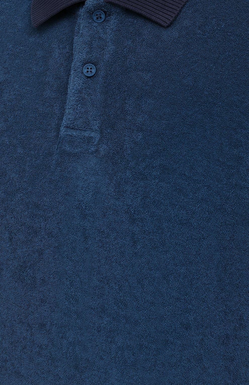 Мужское хлопковое поло ORLEBAR BROWN темно-синего цвета, арт. 273879 | Фото 5 (Застежка: Пуговицы; Кросс-КТ: Пляж; Рукава: Короткие; Длина (для топов): Удлиненные; Материал внешний: Хлопок; Стили: Кэжуэл)