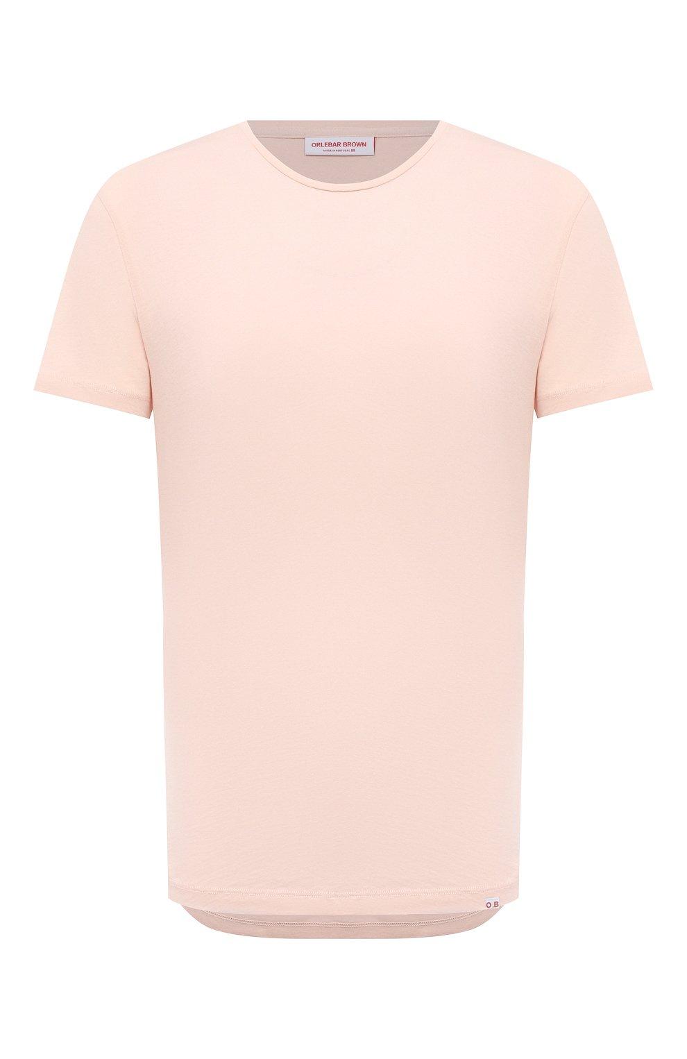 Мужская хлопковая футболка ORLEBAR BROWN бежевого цвета, арт. 274181 | Фото 1 (Кросс-КТ: Пляж; Принт: Без принта; Рукава: Короткие; Длина (для топов): Стандартные; Материал внешний: Хлопок; Стили: Кэжуэл)