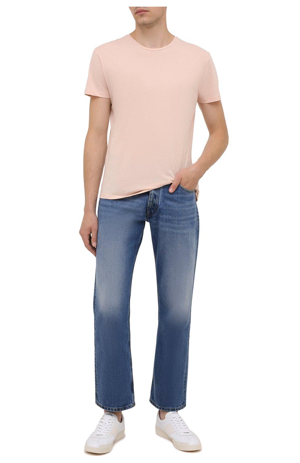 Мужская хлопковая футболка ORLEBAR BROWN бежевого цвета, арт. 274181 | Фото 2 (Кросс-КТ: Пляж; Принт: Без принта; Рукава: Короткие; Длина (для топов): Стандартные; Материал внешний: Хлопок; Стили: Кэжуэл)