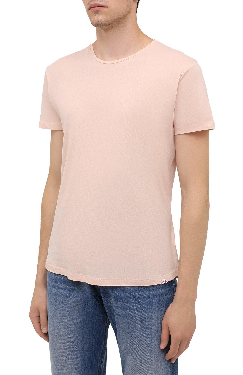 Мужская хлопковая футболка ORLEBAR BROWN бежевого цвета, арт. 274181 | Фото 3 (Кросс-КТ: Пляж; Принт: Без принта; Рукава: Короткие; Длина (для топов): Стандартные; Материал внешний: Хлопок; Стили: Кэжуэл)
