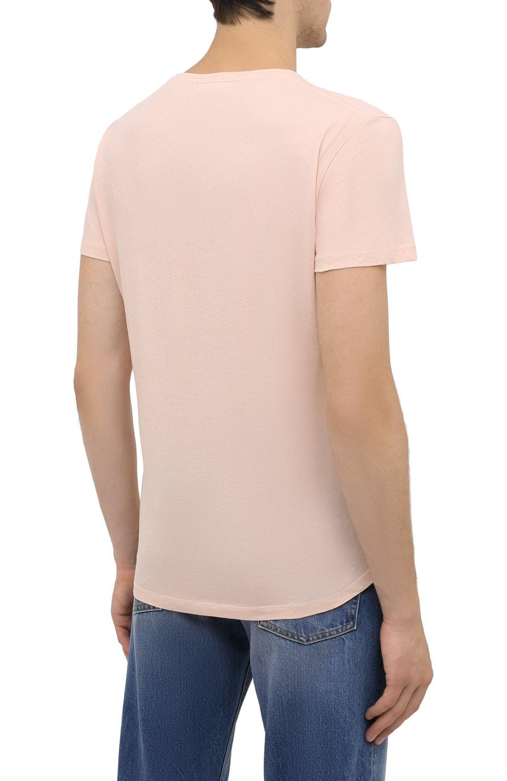 Мужская хлопковая футболка ORLEBAR BROWN бежевого цвета, арт. 274181 | Фото 4 (Кросс-КТ: Пляж; Принт: Без принта; Рукава: Короткие; Длина (для топов): Стандартные; Материал внешний: Хлопок; Стили: Кэжуэл)
