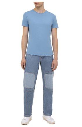 Мужская хлопковая футболка ORLEBAR BROWN голубого цвета, арт. 274182 | Фото 2