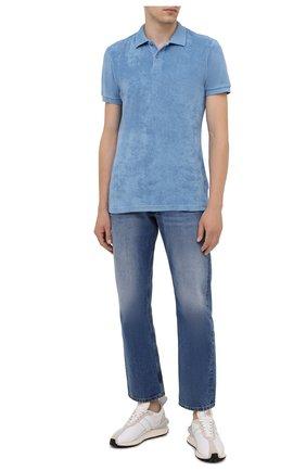 Мужское хлопковое поло ORLEBAR BROWN голубого цвета, арт. 274238 | Фото 2