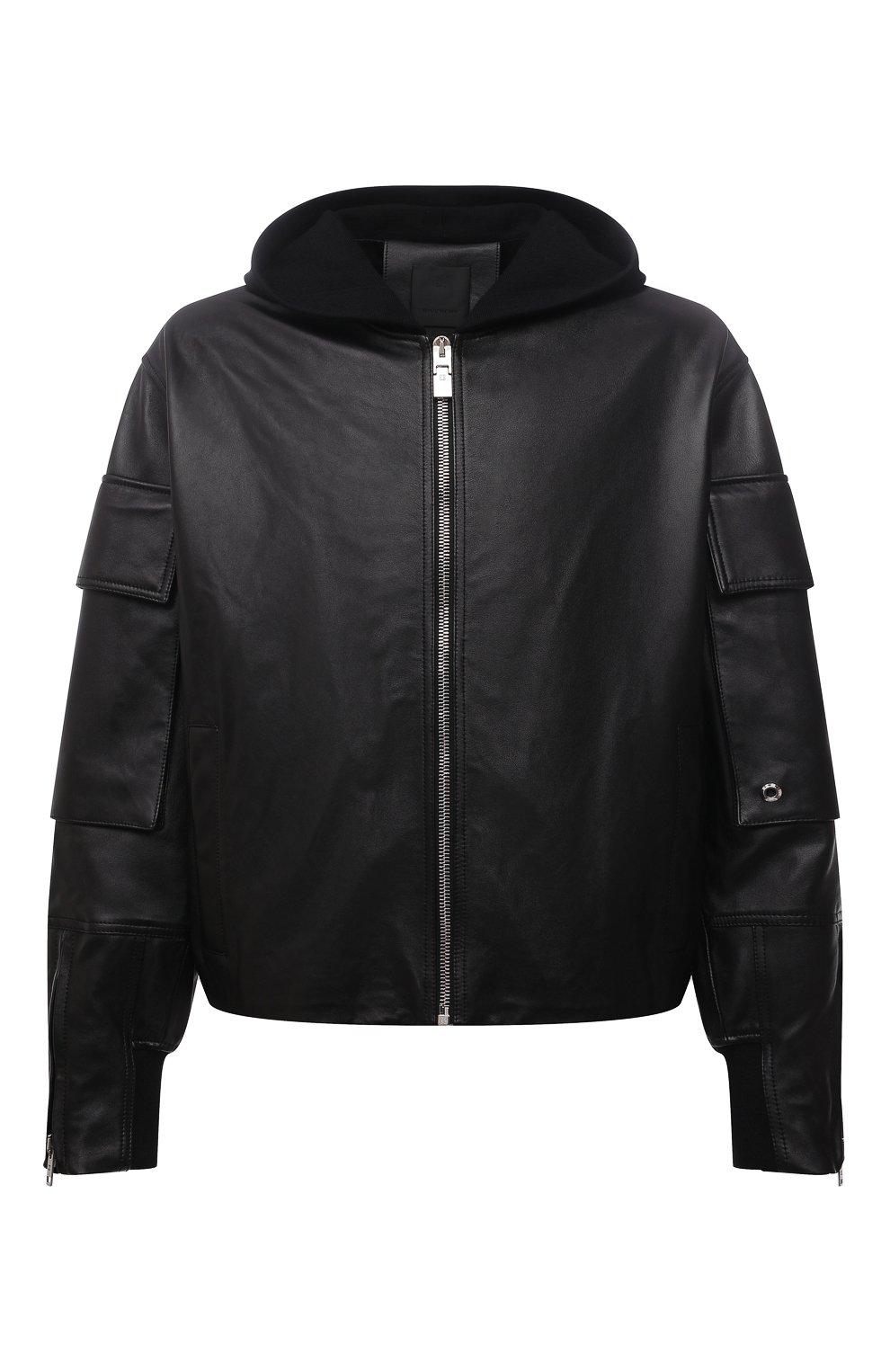 Мужская кожаная куртка GIVENCHY черного цвета, арт. BM00QP6003   Фото 1 (Кросс-КТ: Куртка; Рукава: Длинные; Стили: Панк; Мужское Кросс-КТ: Кожа и замша; Длина (верхняя одежда): Короткие; Материал подклада: Купро)